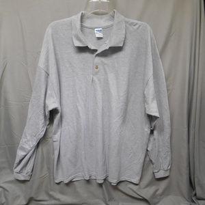NWOT Gildan gray long sleeve polo shirt men's 2XL